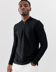 Selected Homme Long Sleeve Polo Shirt With 1 4 Zip Neck In Organic Cotton Black