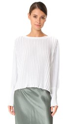 Adam By Adam Lippes Long Sleeve Ribbed Blouse Ivory Silver