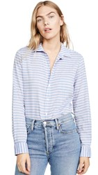 Frank And Eileen Barry Long Sleeve Buttondown Blue Pink White Stripe