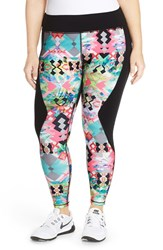 Plus Size Women's Pink Lotus 'Contrast' Performance Leggings