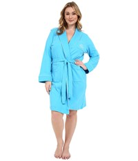 Lauren Ralph Lauren Plus Size Essentials Quilted Collar And Cuff Robe Turquoise Women's Robe Blue