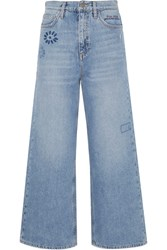 Mih Jeans M.I.H Caron Embroidered Cropped High Rise Wide Leg Mid Denim