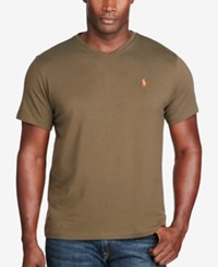 Polo Ralph Lauren Men's Big And Tall Classic Fit V Neck Short Sleeve Cotton Jersey T Shirt Green