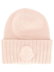 Moncler Logo Patch Beanie Pink