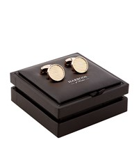 Harrods Of London Ribbed Round Rose Gold Plated Cufflinks Unisex