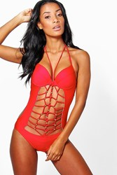 Boohoo Rome Strappy Cut Out Bathing Suit Red
