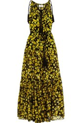 Lanvin Floral Print Silk Chiffon And Fil Coupe Gown Yellow