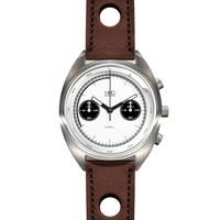 Mhd Watches Cr1 Panda Dial Chronograph Watch With Brown Strap Black White Grey