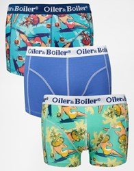 Oiler And Boiler 3 Pack Trunks In Acapulco Print Multi