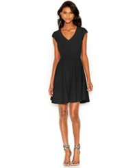 Bar Iii Cap Sleeve Fit And Flare Dress Only At Macy's Deep Black