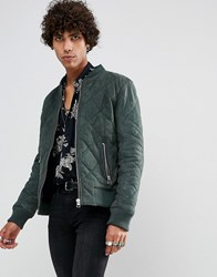 Goosecraft Leather Quilted Bomber Jacket In Khaki Green