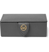 Kingsman Smythson Panama Cross Grain Leather Cufflink Box Gray