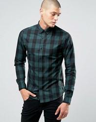 Only And Sons Button Down Check Shirt Green