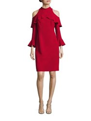 Rickie Freeman For Teri Jon Cold Shoulder High Neck Dress Red