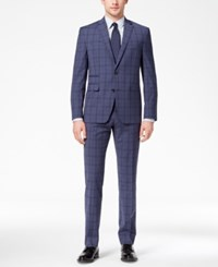 Vince Camuto Men's Coolmax Slim Fit Stretch Blue Windowpane Suit