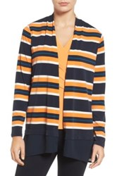 Chaus Colorblock Striped Cardigan Blue