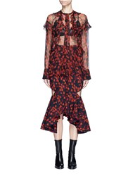 Givenchy Ruffle Floral Print Silk Chiffon Blouse Red