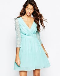 Laced In Love Cross Front Skater Dress With Lace Sleeves Aqua Blue