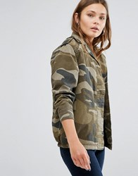 New Look Borg Lined Camo Jacket Green Pattern