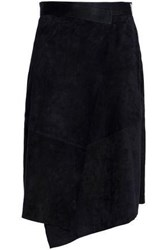 Amanda Wakeley Asymmetric Wrap Effect Suede Skirt Midnight Blue