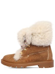 Casadei 20Mm Suede And Shearling Trekking Boots Brown