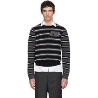J.W.Anderson Jw Anderson Black And White Striped Logo Sweater
