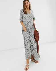 Y.A.S Floral Short Sleeve Maxi Smock Dress Multi