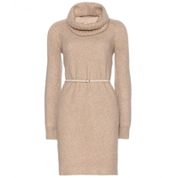 Loro Piana Ellen Cashmere Dress With Detachable Belt And Scarf Beige
