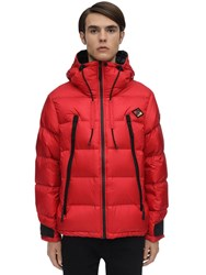 Burberry Hooded Nylon Down Jacket Red