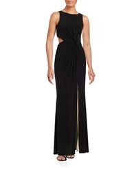 Betsy And Adam Sleeveless Gown Black Blush
