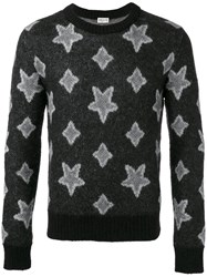 Saint Laurent Star Print Knitted Sweater Men Nylon Polyamide Mohair Virgin Wool M Black