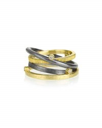 Todd Reed Banded Ring In 18K Gold And Sterling Silver With Diamonds