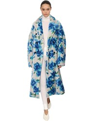 Jil Sander Floral Printed Mohair Blend Plush Coat Multicolor