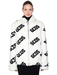 Gcds Logo Faux Fur Jacket White Black