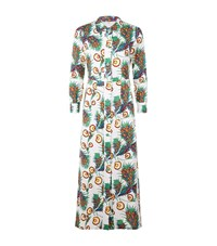 Maje Floral Maxi Shirt Dress Female Green