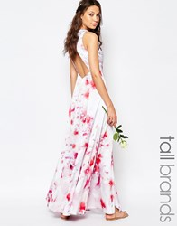 Fame And Partners Tall Asleigh Maxi Dress With Open Back And Side Splits In Floral Print Multi