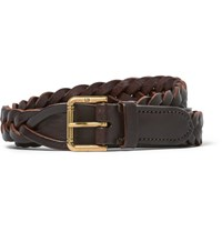 Dunhill 2.5Cm Brown Woven Leather Belt Brown