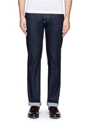 Canali Straight Leg Cotton Jeans Blue