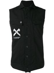11 By Boris Bidjan Saberi Denim Sleeveless Shirt Men Cotton Spandex Elastane L Black