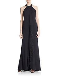 Carmen Marc Valvo Collection Embellished Fringe Halter Gown Black