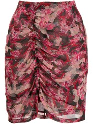 Iro Ruched Floral Skirt Pink