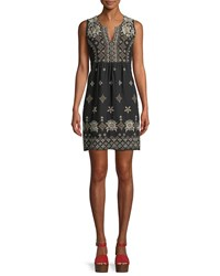 Johnny Was Lane Embroidered Linen Tank Dress Plus Size Black