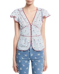 Marc Jacobs Flutter Sleeve Rose Fil Coupe Blouse Blue Pattern