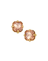 Panacea Golden Rhinestone Stud Earrings Rose