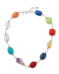 Margo Morrison Crystal And Multi Stone Necklace Multi Pattern