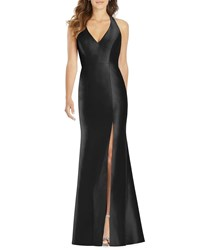 Alfred Sung Halter Gown With Thigh Slit Black