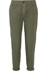 James Perse Cropped Brushed Stretch Cotton Pants Army Green