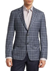 Saks Fifth Avenue Collection By Samuelsohn Wool Plaid Jacket Blue