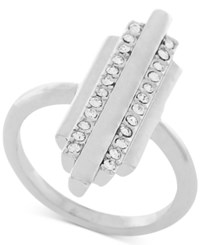 Bcbgeneration Silver Tone Pave Bar Statement Ring
