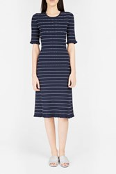 Victoria Beckham Women S Flounce Trim Midi Dress Boutique1 Navy